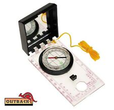 OUTBACK DELUXE Orienteering Map Compass Liquid Filled WITH Sighting Mirror