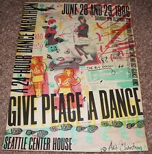Give Peace A Dance Seattle silkcreen concert poster Art Chantry 1986