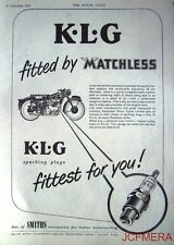 1953 Motor Cycle ADVERT - Matchless 'K.L.G. Spark Plugs' AD
