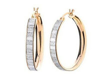 .925 Sterling Silver Rose Gold Plated 3mm Thick Stardust Glitter Hoop Earrings