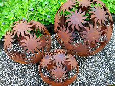 3x Metal Bola Sol D40+D30+D20 Esculturas Herrumbre Figuras De Jardín Óxido Noble