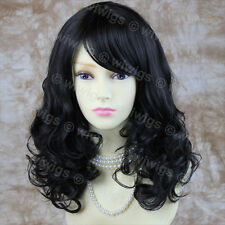 Stunning Curly Medium Wig Black Brown Ladies Wigs Skin Top Hair from WIWIGS UK