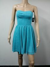 NEW FAST AUS - GUESS Size 8 Strapless Flared Knee Length Dress - Turquoise $138
