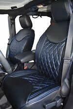2013-2017 Jeep Wrangler JK Black W/ Blue Diamond Stitching Front/Rear Set 4 Door