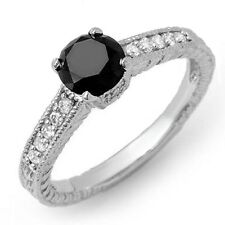 1.00 Carat Round Black and White Diamond Engagement Ring Crafted in White Gold .