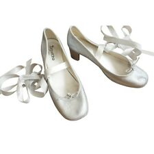 ■ Escarpins Shoes Talons ■ REPETTO ■ CUIR argenté Leather Silver ■ 37 FR■ LUXE ■