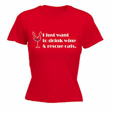 I JUST WANT TO DRINK WINE AND RESCUE CATS WOMENS T-SHIRT kitten birthday gift