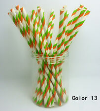 25 PCS Colorful Diagonal Striped Paper Drinking Straws Wedding Birthday Color 13