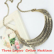 Women Vintage Metal Collares Three Layers Half Moon Gold Statement Necklace HOT