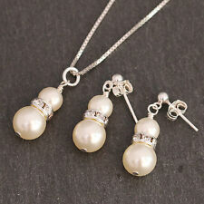 Wedding jewellery Bridal Necklace SET Ivory Swarovski Pearl 925 Sterling Silver