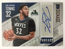 Karl Anthony Towns Signage Rookie Card Auto 2015-16 Panini Threads Basketball
