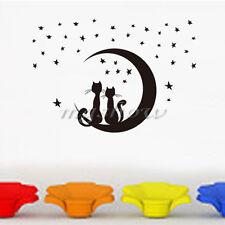 Gato Luna Estrellas Extraíble Vinilo Arte Pegatinas Pared Habitación Decoración