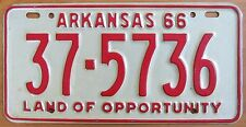 Arkansas 1966 LOGAN COUNTY License Plate # 37-5736