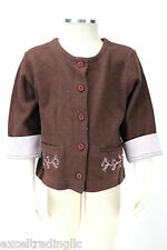 JACADI Girl's Arcane Mocha Brown Cardigan with Pink Cuffs Age: 6 Years NWT $52