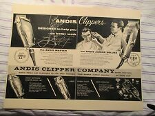 Vintage Barbershop Andis Clippers Junior & Master Sign Ad w Barber Cutting Hair