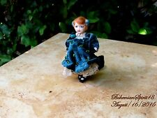 ANTIQUE GERMANY RG/77 BISQUE GIRL DOUBLE JOINTED VELVET DRESS MINIATURE 4'' DOLL