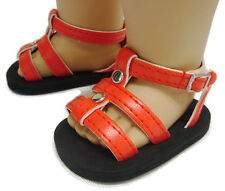 """Red Gladiator Summer Sandals Shoes made for 18"""" American Girl Doll Clothes"""