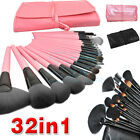 32pcs Professional Makeup Brushes Set Cosmetic Tool Kit Leather Case Goat Hair