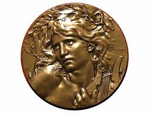 Art Nouveau Greek Mythology Orpheus with lyre Music Medal by Lucien COUDRAY M19a