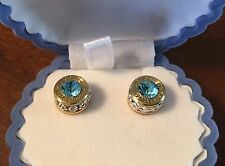 Federal Corp 9mm Luger Brass Bullet Casing Stud Earrings With Aqua Blue Crystal