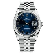 NEW 2016 Rolex Datejust Steel Blue Roman Dial Jubilee Mens Watch 116200 BLRJ