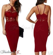 Lady Womens Midi Dress Bodycon Red Party Pencil Wiggle.Floral Lace Size 12 14 16
