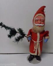 Superb Old Standing SANTA CLAUS w Long Coat & Feather Tree - All Composition