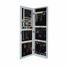 White Mirrored Jewelry Cabinet Armoire Door Locking Wall Mount Makeup Storage