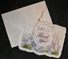Carol Wilson Thank You Cards 10 Embossed Set Purple Lilacs Butterflies Blank