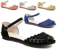 WOMEN LADIES FLAT ANKLE BUCKLE CUT OUT PEEP TOE BALLERINA PUMPS SHOES SIZE 3-8