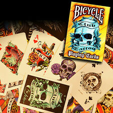 Bicycle Club Tattoo Deck - Orange - Playing Cards - Magic Tricks - New