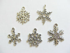 10 Metal Antique Silver Snowflake Charms/Pendants - 19mm - 26mm