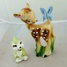 Vintage Walt Disney Bambi Bisque Porcelain Figurine Butterfly and thumper figure