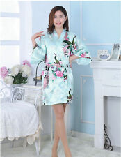 Women Plain Silk Satin Robes Bridal Wedding Bridesmaid Bride Gown Kimono Robe !