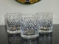 3 Rogaska Crystal Cut Double Old Fashioned Whiskey Tumblers