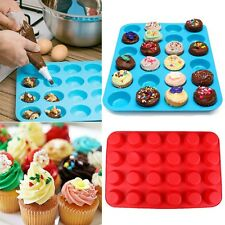 24 Cavity Silicone Muffin Cupcake Chocolate Cookie Baking Mold Mould Pan Tray