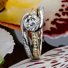 1 Round Cut Diamond Solitaire Engagement Ring VS2 D 14K White Gold Enhanced