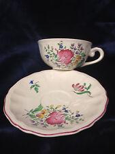 LUNEVILLE FRANCE K & G OLD STRASBOURG CUP & SAUCER 18 OZ FLOWERS DARK PINK TRIM