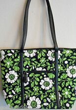 Vera Bradley Small Trimmed Vera Tote Bag Lucky You green floral flowers