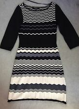 NINE WEST BLACK/CREAM & GREY ZIG ZAG PATTERN KNITTED DRESS WITH A-LINE SKIRT - S