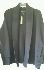 J. Crew Chunky trim cardigan sweater $128 M-L Med Large Black C2915 pockets