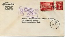 Travellers Ins. Co. PERFIN on Registered AR 1942 cover Canada