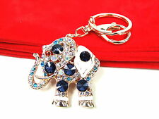 Rose Gold Elephant  Keyring Dangling Rhinestone Diamante Handbag Buckle Charm