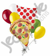 7 pc Pizza Party Balloon Bouquet Party Decoration Slice Happy Birthday Polka Dot