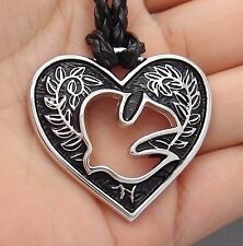 "Holy Spirit Heart Love Pewter Pendant with 20"" Free Necklace P#276"
