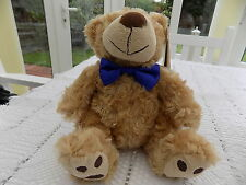 Tesco Cuddle Me Friend 20cm Bear with Blue Bow Tie