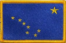 ALASKA STATE Flag Iron-On Morale Tactical Patch Gold Border #30