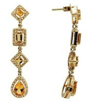 14K YELLOW GOLD PAVE DIAMOND CITRINE LONG PEAR CUT DANGLE GEMSTONE EARRINGS