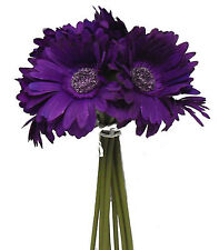 PURPLE LAPIS Gerbera Daisy Bridal Bouquet Silk Wedding Flowers Centerpieces DIY