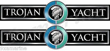 Two Trojan Boat Custom  Name Decals - 16 inch long